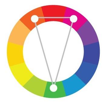 Psicologia das cores complementares divididas