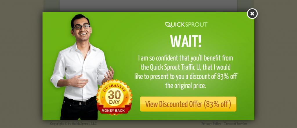 Pop-up de saída do site QuickSprout Pro