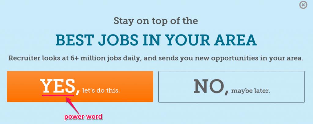 O CTA do site Recruiter.com também usa palavras conversivas
