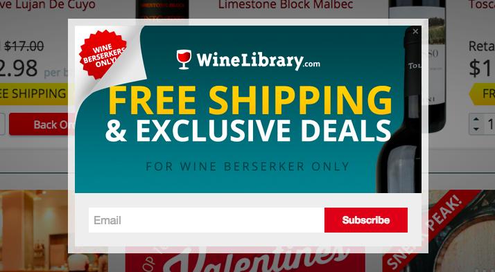 Pop-up de saída do site Wine Library