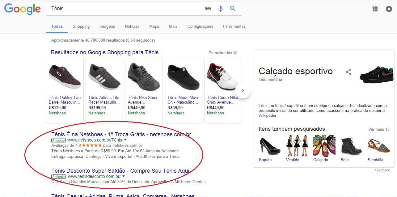 Anúncios no Google Palavras-chave