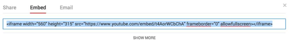 Código embed do Youtube