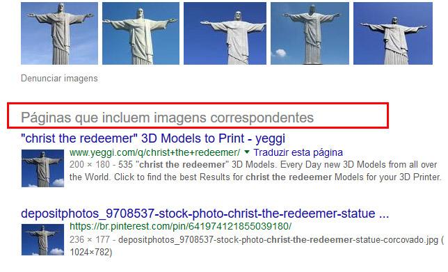 detalhes da busca de imagens